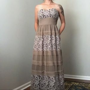 BCBGeneration Lace Strapless Maxi Dress Size Large